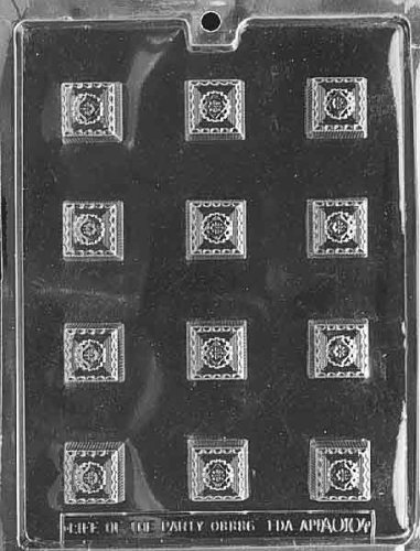 Cybrtrayd Life of the Party AO104 Fancy Squares All Occasions Chocolate Candy Mold in Sealed Protective Poly Bag Imprinted with Copyrighted Cybrtrayd Molding Instructions