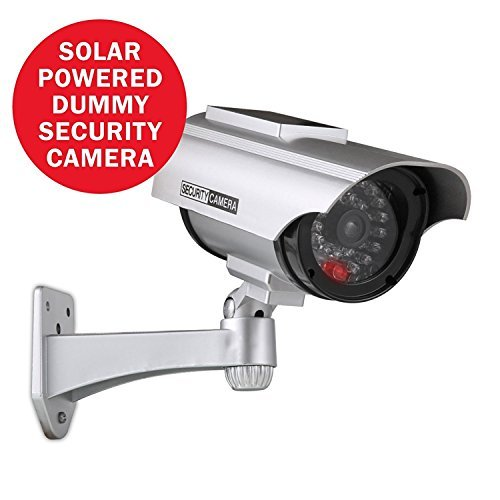 Annke Solar Poweredダミーフェイクカメラセキュリティカメラ点滅レッドLED付き屋内と屋外の使用、ip56防水型