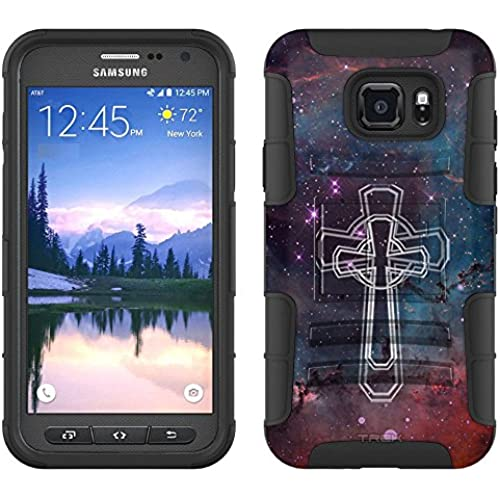 Samsung Galaxy S7 Active Armor Hybrid Case Celtic Cross on Nebula Glaxy 2 Piece Case with Holster for Samsung Sales