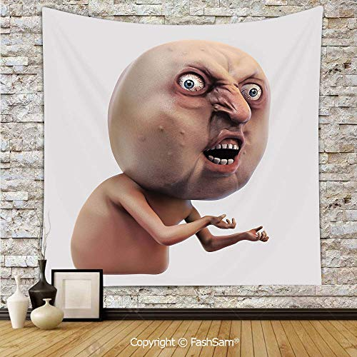 FashSam Polyester Tapestry Wall Scary Internet Meme with Why You No Expression Angry Trolling Chat Digital Design Hanging Printed Home Decor(W51xL59)]()