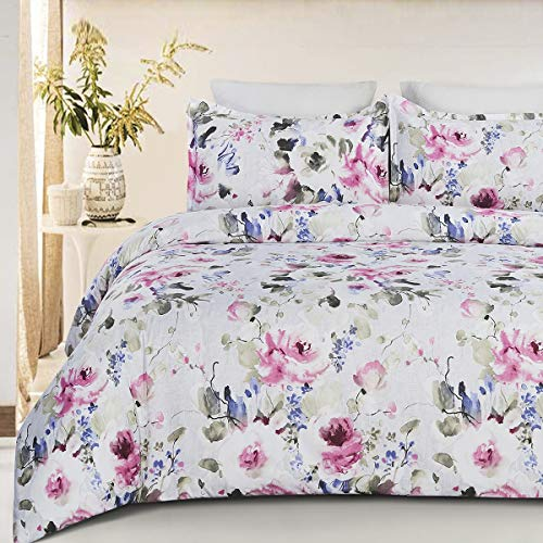 YEPINS Microfiber Printed Floral Duvet Cover Set with Zipper Closure, Grayish Background and Pink Flower, King Size(104X90 Inch)