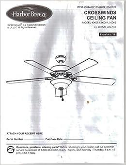 Harbor Breeze Crosswinds Ceiling Fan Instruction
