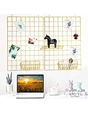 GBYAN Gold Wall Grid Panels 2 Pack Multifunctional Wall Organizer Hanging Memo Board Metal Wire Photo Grid Display for Home, Office