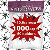 Giant Spider Web Halloween Decoration, Super Stretch to 1000 Square Feet Web with Scary 60 pcs 1.5'' Plastic Spiders Realistic Looking for Halloween Party Outdoor Indoor Windows Garden Yard by Qiwoo