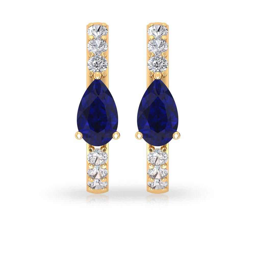 0.64 Ct Blue Sapphire Hoop Earring, IGI Certified Diamond Huggie Earring, Solitaire Gemstone Diamond IJ-SI Color Clarity Earring, Stackable Earring
