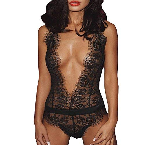 Kaitobe Sexy Lingerie for Women for Sex Ladies Lingerie Lace Eyelash Backless G-String Halter Babydoll Teddy Chemise Black