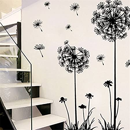 MEJOSER 2 Sets Dandelion Wall Stickers Decals Flying Flowers Butterflies Wall