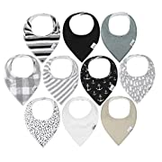 10-Pack Baby Bandana Drool Bibs for Drooling and Teething, 100% Organic Cotton, Soft and Absorbent, Hypoallergenic Unisex Bibs for Baby Boys & Girls - Baby Shower Gift Set Gray by ana Baby
