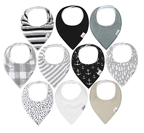 10-Pack Baby Bandana Drool Bibs for Drooling and Teething, 100% Organic Cotton, Soft and Absorbent, Hypoallergenic Unisex Bibs for Baby Boys & Girls - Baby Shower Gift Set Gray by ana baby by ana baby