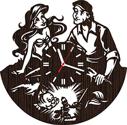 Wooden Wall Clock The Little Mermaid Gifts for Fans Women Girls Princess Ariel and Prince eric Wedding Toys Decorations Bedding Baby Room Decor Ursula Sebastian flounder Party Supplies Vinyl]()