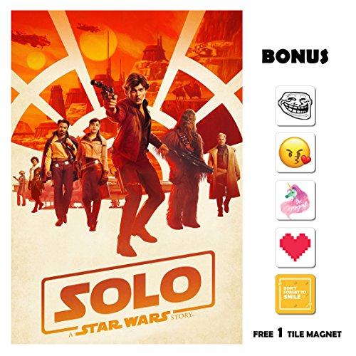 SOLO A Star Wars Story Movie Poster 13 in x 19 in Poster Flyer BORDERLESS - Orange - Bonus Free 1 Tile Magnet