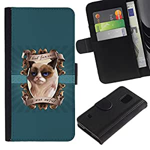 Planetar® Colorful Pattern Flip Wallet Leather Holster Protective Skin Case Cover For SAMSUNG Galaxy S5 V / i9600 / SM-G900 ( I had Fun Once Funny Cat )