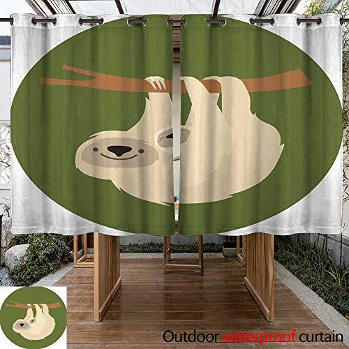 RenteriaDecor Outdoor Curtain for Patio Cute Sloth Family