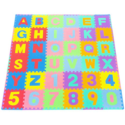 - ProSource Kids Puzzle Alphabet, Numbers, 36 Tiles and Edges Play Mat, 12