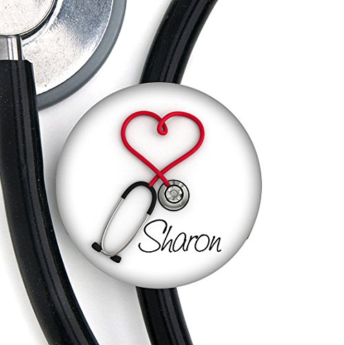 - Good Girl Gone Badge Stethoscope Tag - Red Heart Steth - Personalized Name - Steth ID Tag