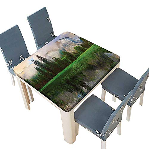 PINAFORE Waterproof SpillProof Tablecloth Sunset Panorama Yosemite Cathedral Rocks Trees Cloudy Sky Reflection Riverside Beige Gr Picnic,Outdoor Indoor Party use 29.5 x 29.5 INCH (Elastic Edge) ()