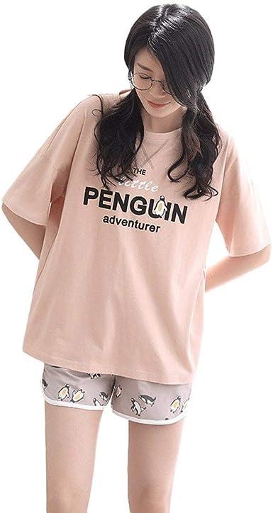 Mujer Pijamas Mujer Anchas Manga Impreso Carta Camisetas Corta Cuello Modernas Casual Redondo Tops Cartoon Patrón Elastische Taille Shorts: Amazon.es: Ropa y accesorios