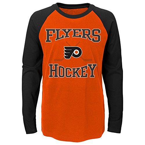 NHL Philadelphia Flyers Youth Boys Morning Skate Long Sleeve Tee, Large(14-16), Varsity Orange