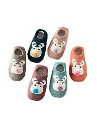 6 Pairs Baby Boys Girls Anti Slip Socks Winter Warm Cute Animal Socks 0-24 Month
