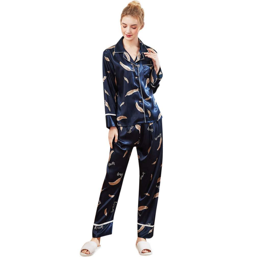 Pajamas for Women Long Sleeve Two Piece Soft Printed Button Down Sleepwear Pj Set Satin Top Pants Sets (M, Navy)