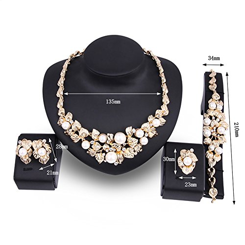 POKICH Women Fashion 18K Gold Plated Alloy Pearl Crystals Bridal Ladies Party Jewelry Set -