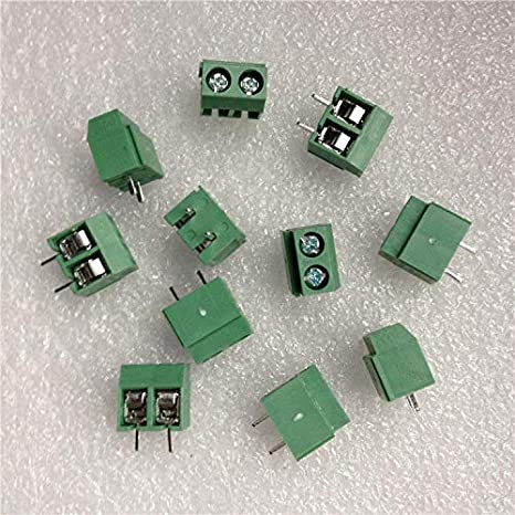 Onwon 100PCS 2 Pole 5mm Pitch PCB Universal Mount Screw Terminal Block 8A 250V PCB Mount Screw Terminal Block