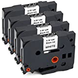 JARBO TZE-221 Compatible Brother TZE221 Label Tape Black on White, 4 Packs, 0.35 Inch x 26.2 Feet ( 9mm x 8m ), Used for Brother P-Touch PT-D210 PT-D200 PT-D400AD PT-D600 PT-H100 PT-P700 Label Maker