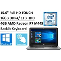 2017 Newest Flagship Dell Inspiron 15.6 Full HD Touchscreen Gaming Laptop, Intel Dual-Core i7-7500U, 16GB DDR4, 1TB HDD, 4GB AMD Radeon R7 M445, Backlit Keyboard, 802.11ac, Bluetooth, DVDRW, Win 10