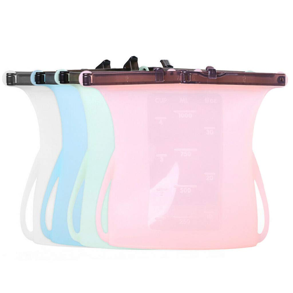 Portable Silicone Food Storage Bag Sealed Bag, 4 Packs 1000 ML Food Preservation Bag Airtight Seal Storage Container, Kitchen Cooking Utensil