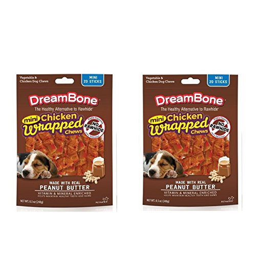 DreamBone Chicken Wrap Mini Stick Small Breed Peanut Butter Chews Dog Treat, 20 Ct 20 Ct – 2 Pack