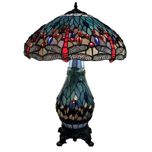 "Warehouse of Tiffanys T18275TGRB Dragonfly Tiffany-Style Table Lamp with Lighted Base, 26"" x 18"" x 18"", Blue and Red"