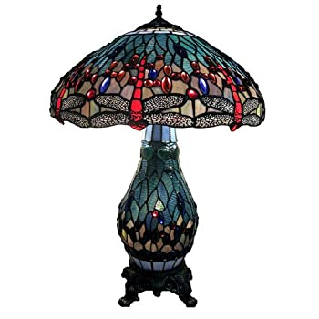"""Warehouse of Tiffanys T18275TGRB Dragonfly Tiffany-Style Table Lamp with Lighted Base, 26"""" x 18"""" x 18"""", Blue and Red"""