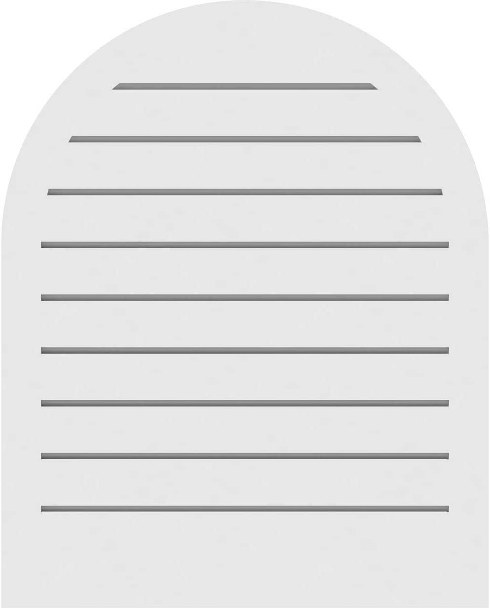 Factory Primed White 16 W Inch x 24 H Inch Ekena Millwork GVPRT16X2402SF Round Top Surface Mount PVC Gable Vent