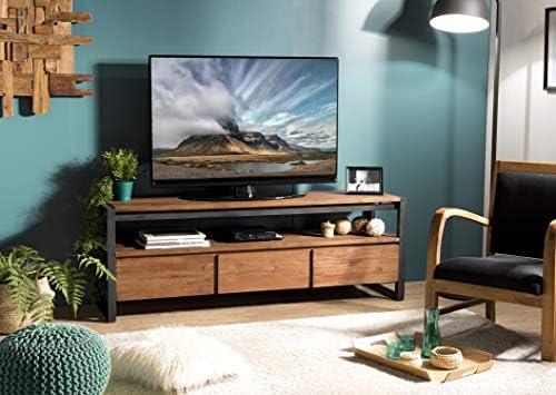Mueble TV con 3 cajones y 1 Estante de Teca Reciclado y Metal: Amazon.es: Juguetes y juegos