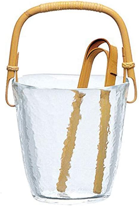 クリアガラス アイスペール,ダブルウォールミニ 飲料用浴槽 アイスバケット トング付き-a 12x12cm(5x5inch)