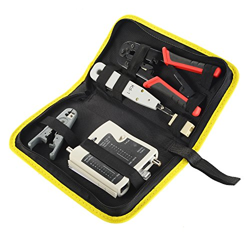 Cat5e Network Wiring - 6 Sets Network Cable Tool Kit - Matgo Dual Modular Crimping Cutter Tool RJ45 RJ12 RJ11,Punch Down Tool ,RJ45 to BNC Wire Tester ,Stripping Pliers for Cat5E Cat6 and RJ45 Coupler