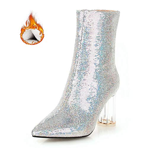 (Vimisaoi Women Sequins Ankle Booties Block Crystal Transparent High Heel Boots)