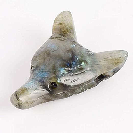 Wholesale Wolf Head Statue Pendant Natural Stone Crystal Quartz Carved Necklace.
