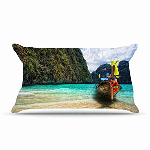 Jarrod King Size 20X36 PillowCase Inches Cotton Pillowcases Decorative Pillow Cover Case with Hidden Zipper Decor Cushion Covers - Nature boat coasts colors images paints bright mooring tropics wreath