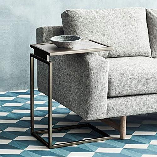 Beste Plaats Bijzettafels Haizh Scandinavisch marmer kleine salontafel, C-vorm ijzeren frame sofa, goud/zwart, 45 × 30 × 66 cm  aANbbv1