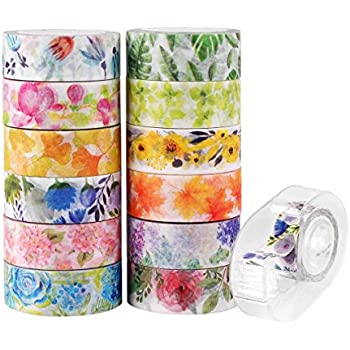 Knaid Floral Washi Masking Tape Set + Tape Dispenser, Spring Flower Decorative Paper Tapes for Arts and DIY Crafts, Scrapbooking, Bullet Journal, Planner, Gift Wrapping, Holiday Decoration (Set of 12)