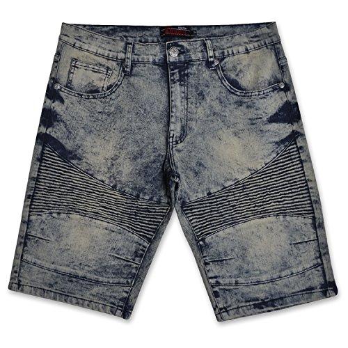 - Chams Men's Distressed Patterned Stretch Denim Multi Pocket Jean Knee Shorts Vintage Days 42