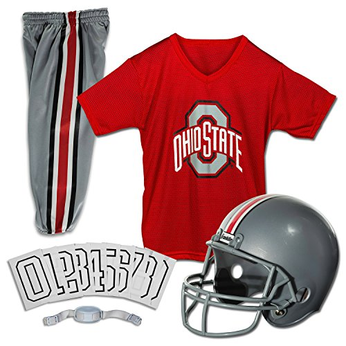 Franklin Sports NCAA Ohio State Buckeyes Deluxe Youth Team Uniform Set, (Osu Helmet)