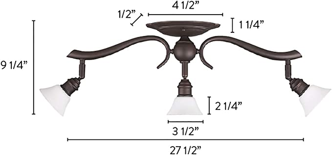 Oil Rubbed Bronze Canarm IT217A03ORB10 Addison 3-Light Dropped Track Lighting with Flat Opal Glass Shades