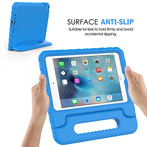 MoKo iPad Mini 4 Case - Kids Shock Proof Convertible Handle Light Weight Super Protective Stand Cover Case for Apple iPad Mini 4 2015 Tablet, BLUE