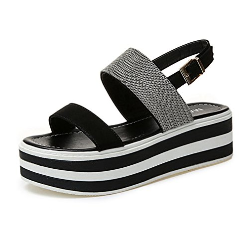 T-JULY Womens Ladies Fashion Wedge Platform Silk Satin Open Toe Sandals with Buckle Ankle Strap Slip on Comfy Dress Slippers