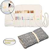 Teamoy Knitting Needles Holder Case(up to 11 Inches), Cotton Canvas Rolling Organizer for Straight and Circular Knitting Needles, Crochet Hooks and Accessories, Arrow --NO ACCESSORIES INCLUDED