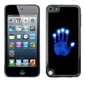 TopCaseStore / la caja del caucho duro de la cubierta de protección de la piel - Glowing Blue Hand - Apple iPod Touch 5