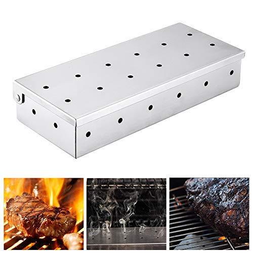 Boîte de fumeur de barbecue Boîte de fumeur,Boîte de fumeur en acier inoxydable antirouille,de charbon de bois Et le bois,Boîte de fumeur de grill pour fumer de la viande(Seulement Smoker Box)