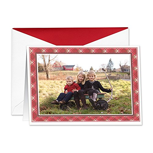 William Arthur Holiday Plaid Photo Card, 10 Cards, 10 Envelopes -